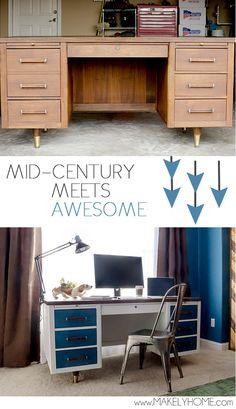 Refinished Mid-Century Modern Desk - Mid-Century Desk gets a Modern Touch Desk Redo, Diy Desk, Refurbished Furniture, Furniture Makeover, Metal Desk Makeover, Upcycled Furniture, Furniture Projects, Furniture Making, Nice Furniture