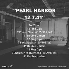 For Time: 12 Ring Dips; 7 Power Cleans (165/105 lbs); 41 Double Unders; 12 Ring Dips; 7 Back Squats (165/105 lbs); 41 Double Unders; 12 Ring Dips; 7 Shoulder-to-Overhead (165/105 lbs); 41 Double Unders