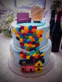 Up movie cake, ellie chair, Carl chair, balloon cake, Up theme  @Jessica Vasquez