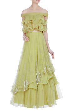 Buy Pastel Green Color Crop Top And Skirt by Akanksha Singh at Fresh Look Fashion Indian Designer Outfits, Designer Dresses, Stylish Dresses, Fashion Dresses, Fashion Clothes, Stylish Outfits, Formal Dresses, Gown Dress Online, Vestidos