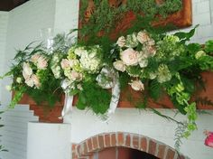 The Flower Cupboard - Virginia Florists - Floral decor for fireplace