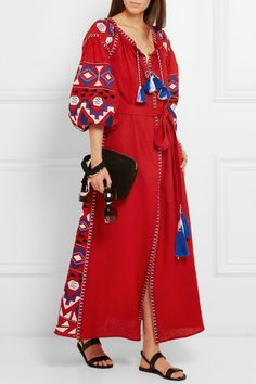 2018 New Bohemian Cotton And Linen Dresses Embroidered Maxi Boho Dress Tassel V Neck Loose Ethnic Style Vintage Embroidery Dress Linen Dresses, Cotton Dresses, Maxi Dresses, Ethnic Fashion, Boho Fashion, Style Ethnique, Mode Boho, Embroidery Dress, Vintage Embroidery