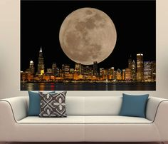Chicago Skyline with Full Moon