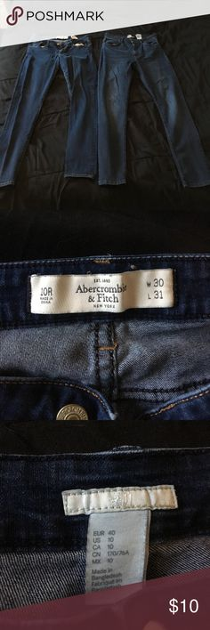 Abercrombie & Fitch and H&M Denim Lot Sz 10 2 pairs of jeans! Both dark wash. One from Abercrombie and Fitch, regular waist. One from H&M, high waist. Both size 10. Both skinny. Abercrombie & Fitch Pants Skinny