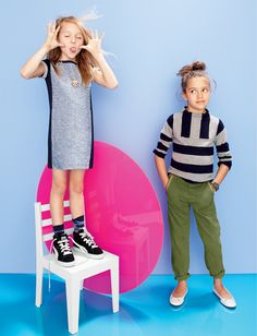 AUG '14 Style Guide: J.Crew girls' tweed sweatshirt dress, cashmere funnelneck sweater and utility pant.