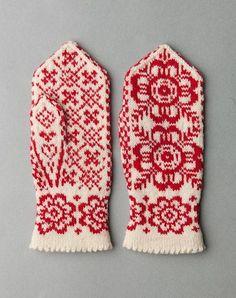 Norwegian Votter-see thumb motif Knitted Mittens Pattern, Crochet Mittens, Fingerless Mittens, Knitted Gloves, Knit Crochet, Knitting Charts, Knitting Stitches, Knitting Designs, Hand Knitting