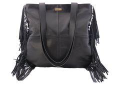 Black Leather Tote Bag, Black Leather Bag, Black Fringe Leather Tote, Black…