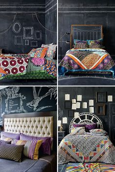 Use Boho-Patterned Bedding Elements + a DIY Chalkboard Headboard AND 40 Creative Ways to Use Chalkboard Paint. Ethnic Bedroom, Cozy Bedroom, Bedroom Decor, Lego Bedroom, Bedroom Crafts, Childs Bedroom, Chalkboard Headboard, Chalkboard Walls, Chalk Wall