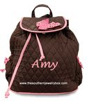 PERSONALIZED QUILTED BACKPACK - Monogrammed Brown and Pink Bag