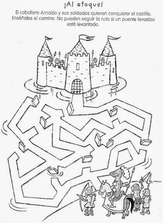 Crafts,Actvities and Worksheets for Preschool,Toddler and Kindergarten.Lots of worksheets and coloring pages. Kindergarten Worksheets, Worksheets For Kids, Preschool Activities, Mazes For Kids, Art For Kids, Crafts For Kids, Chateau Moyen Age, Maze Worksheet, Medieval