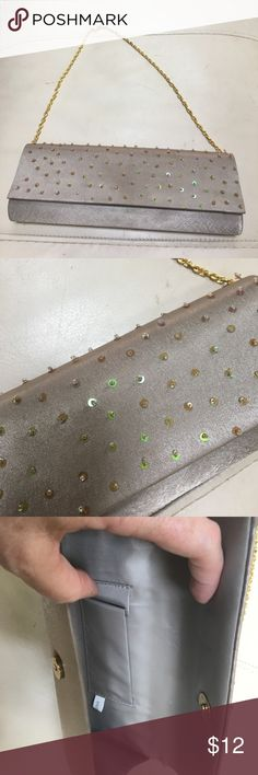 Cute evening bag! Cute evening bag in a champagne color with clear sequins    Only carried once Bags Clutches & Wristlets