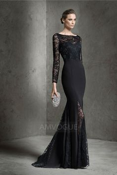 2017 Black Lace Long Sleeve Mermaid Backless Elegant robe de soiree Plus  Size Evening Prom Gown Mother of the Bride Dress Custom 6caeeb1073e7