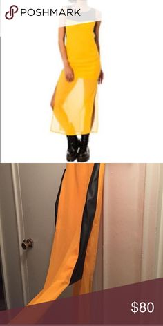 Nwt Dimepiece I.AM.GIA yellow leather sheer dress Sooo on trend and mixing up Street easy with runway glam. Vegan leather trim gives this attitude and sheer yellow keeps it pretty..it is from Dimepiece and yet vibes very I am Gia (pretty much my favourite label Right now).. size s. Not iamgia just tagged for ref I.AM.GIA Dresses Midi