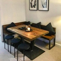 Corner Dining Table, Kitchen Table Bench, Small Kitchen Tables, Steel Dining Table, Dining Table With Bench, Wooden Dining Tables, Dining Nook, Dining Room Design, Pedestal Dining Table