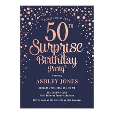 Surprise 50th Birthday Party - Navy & Rose Gold Invitation