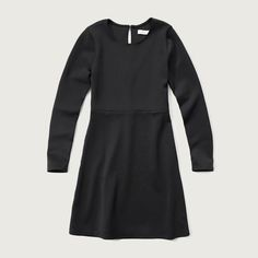 Abercrombie & Fitch Neoprene A-line Dress ($58) ❤ liked on Polyvore featuring dresses, black, zip dress, abercrombie & fitch, keyhole back dress, zipper dress i a line dress