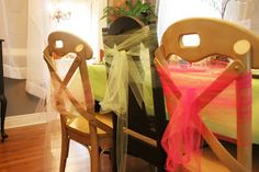 Tulle on the chairs for the Fairy Birthday Party. Nice touch