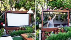 Movie night under the stars, in our garden, is one of our favorite luxuries. Here's the full DIY for creating a modern outdoor theater.