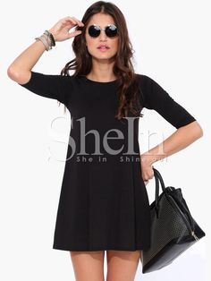 Black Half Sleeve Casual Dress -SheIn(Sheinside)