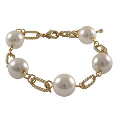 Luxiro Gold Finish Faux Pearl Link Bracelet