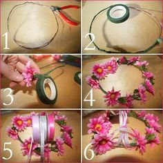 flower crown- since we are doing a clear wrap gift table, we wont have bows and stuff to make a hat for Jackie so maybe we can make this to go with the theme and she can wear it for silly pictures!