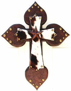 Stacked Crosses by DiaMorDecor on Etsy.  I just love crosses with cowhide and stars!