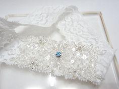 White lace garter Wedding bridal garter something blue by mirino, $18.00