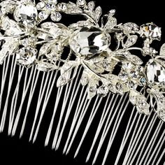 Vintage Silver Clear Crystal & Rhinestone Bridal Hair Comb 9815