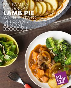 Lamb Pie with Potato Disks and Almond Broccoli. Quick, healthy and yummy recipes for you and your little ones. http://www.myfoodbag.com.au/my-food-bags/family