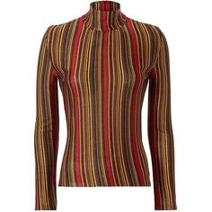 Marco De Vincenzo Women's Lurex Stripe Turtleneck ($550) ❤ liked on Polyvore featuring tops, sweaters, long sleeve turtleneck, layered tops, long sleeve tops, red turtleneck and striped long sleeve top