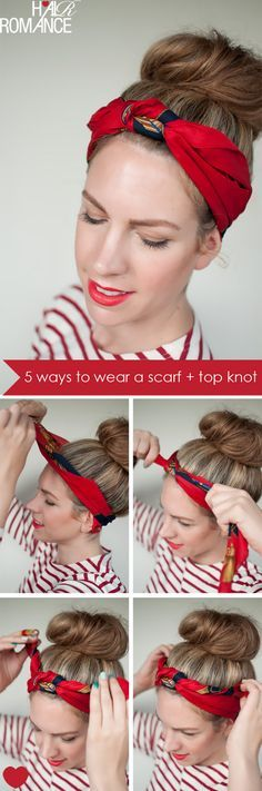 Scarf and bun. If you use a longer scarf you can tie it again at the back and tuck the ends in, or let them hang loose.