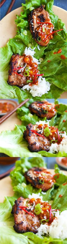 Korean BBQ Chicken (Dak Gogi) – juicy and delicious BBQ chicken served with an amazing Korean spicy dipping sauce. Serve with rice and lettuce leaves (gf soy) Easy Asian Recipes, Easy Delicious Recipes, Yummy Food, Healthy Recipes, Healthy Food, Italian Recipes, Thai Recipes, Healthy Korean Recipes, Mexican Food Recipes