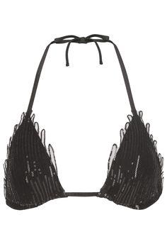 LA PERLA MAGIC BLACK SEQUIN SOUTACHE TRIANGLE BIKINI TOP. #laperla #cloth #