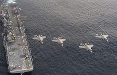 Four F-35B Lightning II aircraft perform a flyover above the amphibious assault ship USS America (LHA 6) on Nov. 20, 2016. US Navy Photo