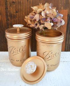 Metallic Gold Spray Painted Ball Mason Jars - Vintage Hardware Knobs - foxhollowcottage.com