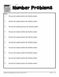 Number Sum Problems Self Promotion, First Grade, Problem Solving, Numbers, Free Worksheets, First Class, Numeracy, Key Stage 1, 1st Grade Centers