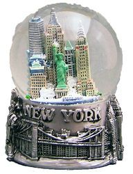 NY Skyline and Sea Pewter 65mm Snowglobe