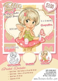 Ellie - Digital Stamp A4 Sheet Size, Coloring Pages To Print, Polymers, Paper Background, Digital Stamps, Digital Image, Your Image, Outline, Card Stock