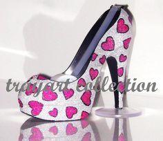 pink and grey stilleos | Pink: Silver Bling & Hot Pink Heart Shape Print Fun High Heel Shoe ...