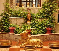 so much love. terracotta, moneyplant and the brass urlis, nandi(?)