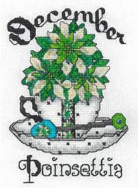 Teacup Birth Flower December - Cross Stitch Pattern
