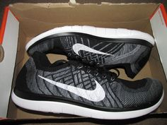 Nike Free 4.0 Flyknit Mens Running Shoes 13 Black White Wolf Grey 717075 001 #Nike #RunningCrossTraining