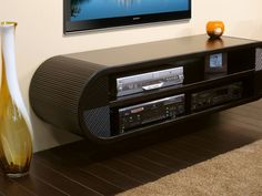 round contemporary floating TV console