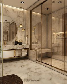 Every luxury bathroom design is updated with the finest details and unique furni… - Diy Home Decor Bathroom Design Luxury, Luxury Bathrooms, Modern Bathrooms, Modern Luxury Bathroom, Tiny Bathrooms, Master Bathrooms, Beautiful Bathrooms, Modern Interior Design, Contemporary Interior