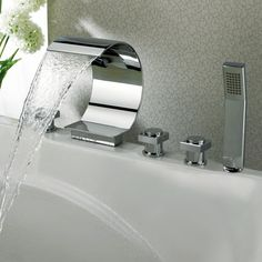 Found It At Wayfair.ca   Triple Handle Deck Mount Waterfall Tub Faucet With  Handshower