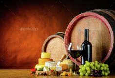 Wine and Cheese Wheel by oizostudios. Red-wine with cheese and barrel in still lif