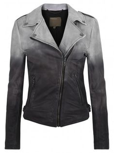 Muubaa Fornas Dip Dyed Ombre Leather Biker Jacket in Ash