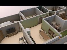 Planta de casa em 3D com dois quartos e uma suite - YouTube