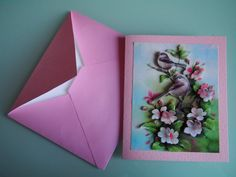 Handmade 3D Birds and Flowers Pink Card with by HandmadeVCreations
