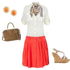geometric shape scarf and coral pocket skirt are sweeeet.   summer outfit AND work appropriate
